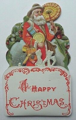 Vintage MERRIMACK 3D Christmas Greeting Card Old World Santa Claus with Toy 1984