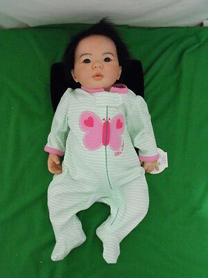 """Reborn Doll 19"""" Tall Rooted Black Hair Brown Eyes 5 Pounds Jointed Asian Mix"""