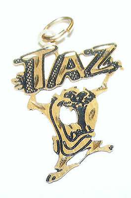 TAZ Tazmanian Devil WARNER BROS charm 14k yellow gold PETITE Looney Tunes