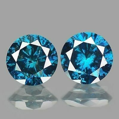 0.60cts 4.2mm Rare Perfect Pair Round Fancy Intense Blue Natural Loose Diamonds
