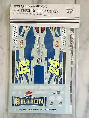1/24 Jeff Gordon 2004 Pepsi Billion Nascar Monte Carlo Decals By JWTBM Very Rare