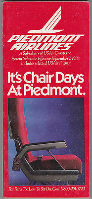 Piedmont Airlines -  System Timetable - 7 Sept 1988