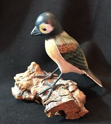 Vintage Wooden  Bird Figurine Carved/Hand Painted on Driftwood Base