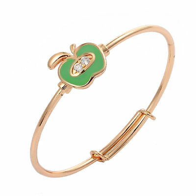 Sweet  Baby Girls 18K Gold Filled Crystal Adjustable Green  Enamel Apple Bangle
