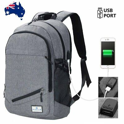 USB Backpack Bag Shoulder Bag Hiking Travel School Laptop Rucksack Fit 15.6""
