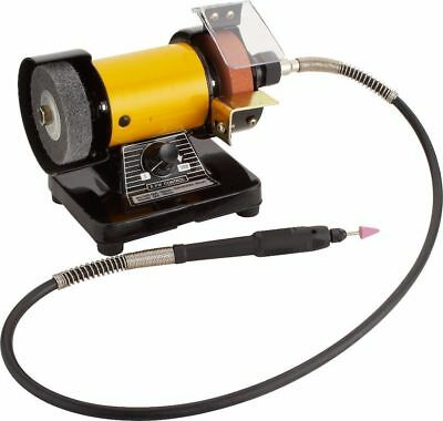 "3"" Mini Bench Grinder & Polisher With Rotary Flexible Shaft Die Carving Set 220V"