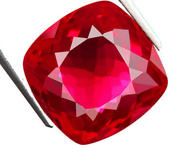 19.50ct AWESOME BLOOD RED RUBY CUSHION LAB CREATED LOOSE GEM coussin rubis rouge