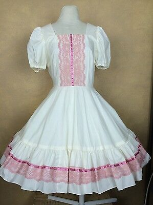 Square Dance Dress w Mauve Dusty Rose Pink Lace Trim