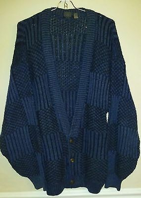 ADENO Vintage Fall '88 Blue Black Acrylic Button Cardigan Men's Size XL