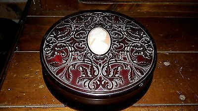 """Vintage Avon Red/brown Powder Bowl """" Complete With Powder And Puff"""""""