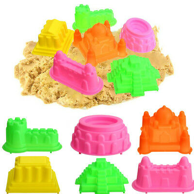 6Pcs Kinetic Castle Sand Mold Clay Building Model Beach Kids Child Baby Toys Set