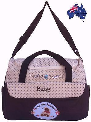Waterproof Mummy Nappy Diaper Bag Baby Travel Bag with Changing Mat- Brown