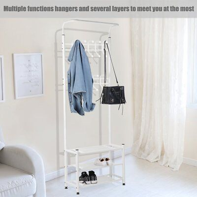 Metal Hat and Coat Stand Clothes Shoes Steel Pole Stands Rack Hanger Hooks Shelf