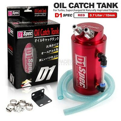 D1 SPEC 0.7L 10mm Round Red Billet Aluminum Engine Oil Catch Tank Can Reservoir
