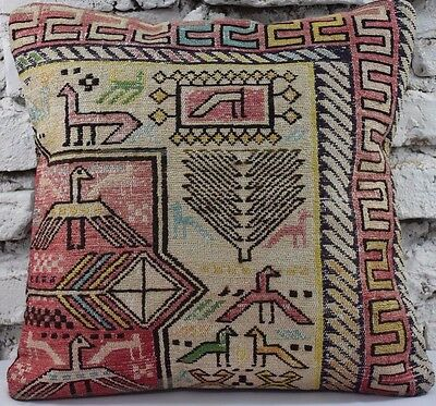 "ANTIQUE HANDMADE 100% WOOL ORIENTAL SUMAK KILIM RUG PILLOW COVER 18"" x 18"""