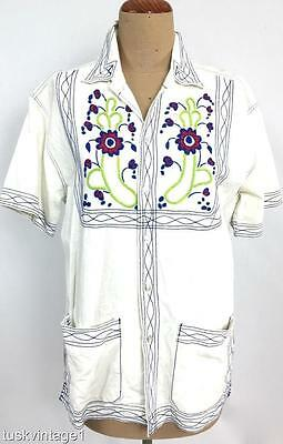 VINTAGE 60s 70s MENS Thailand white COTTON coloured EMBROIDERED casual SHIRT S M