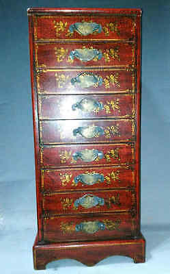 """23.6"""" Old Chinese Antique Wood Carved 2 Dragons Playing Ball Drawer Set"""