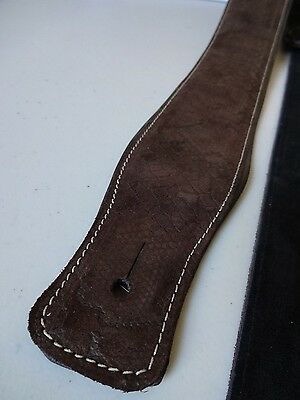 GUITAR STRAP- GENUINE LEATHER PADDED SNAKE EFFECT **DK BROWN** Elec, Bass, Acous