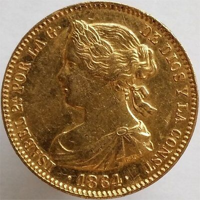 1864 Gold 100 Reales Spain, Scarce, Mint State, Lustrous