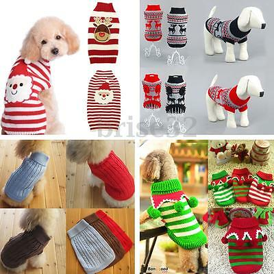 Pet Dog Puppy Cat Winter Clothes Coat Turtleneck Striped Knit Sweater Knitwear