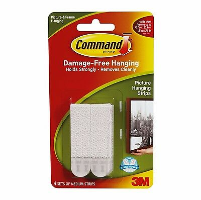 Command MEDIUM PICTURE HANGING STRIPS 4Pcs, 5.4kg Capacity WHITE *USA Brand