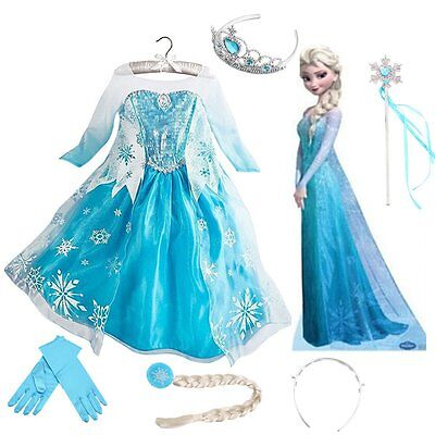Kids Girls! Dresses Elsa Frozen dress costume Princess Anna party dresses 3-8#W