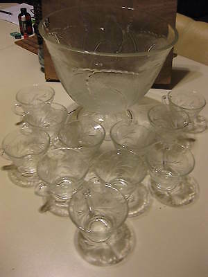 Clear Glass Punch Bowl With Tulip Pattern & 11 Cups