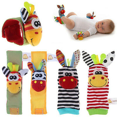 4 x Baby Infant Kids Wrist Strap Watch Hands Foot Sock Rattle Finders Soft Toys