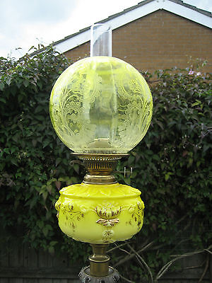 Very Tall 33 inches high Antique Yellow Oil Lamp with unusual Brass Base