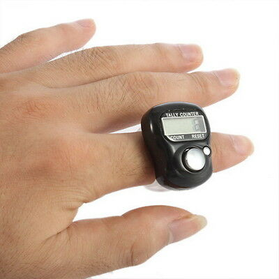 Black 5-Digit LCD Electronic Digital Golf Finger Hand Held Ring Tally Counter #W
