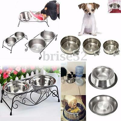 Various Stainless Steel Cat Dog Puppy Pet Water Food Feeder Dish Bowl Stand