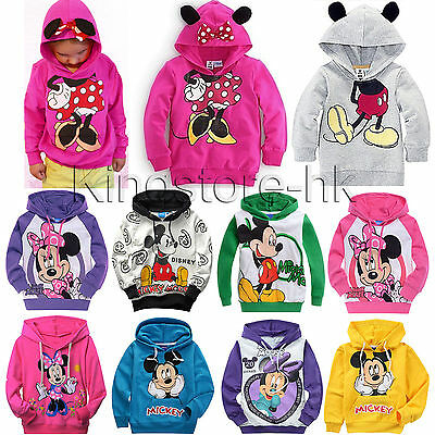 Kids Boys Girls Mickey Minnie Long Sleeve Hoodies T-Shirt Hoody Sweatshirt Tops
