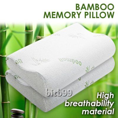 2x Pack Luxury Bamboo Memory Foam Fabric Fibre Cover Contour Pillow 50 x 30cm BS