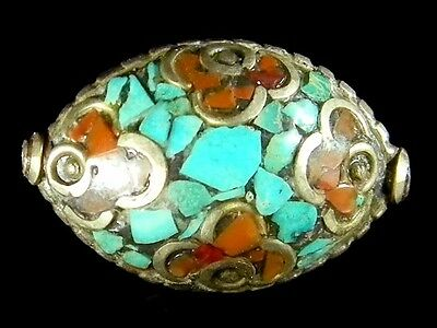 Old BIG Nepalese Jewelry Turquoise Red Coral Metal Bead Vintage Bicone #G11271