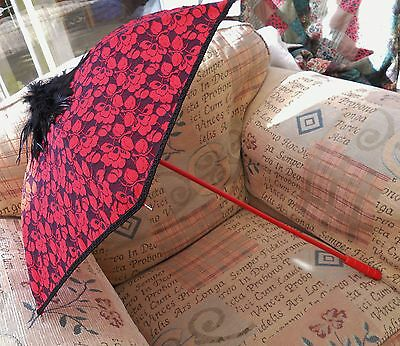 Red Black Gothic Victorian Burlesque Wedding Photo Lace Feather Parasol Umbrella
