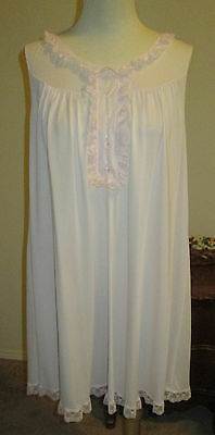 Vtg. Shadowline Pink Nylon Nightgown  Sz.l