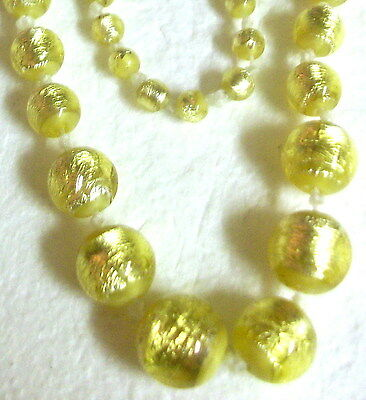 """Antique Knotted 31"""" Gold Foil Wrpped Opaque Yellow Glass Graduated Bead Necklace"""