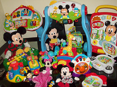 Disney Mickey Mouse Fisher Price bundle Walker, Table, Soft toys Etc