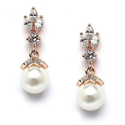 Mariell Light Ivory Pearl Drop Bridal Earrings with 14K Rose Gold Plated Trio of