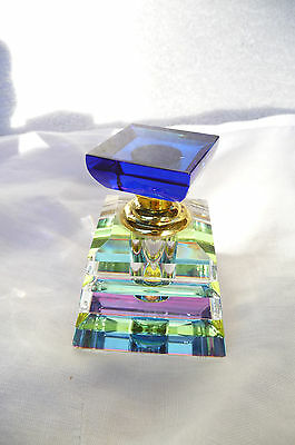 Gorgeous Art Deco Style Heavy Glass Perfume Bottle with Screw Stopper