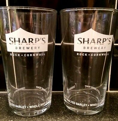 SHARPS PINT GLASSES (x2) - NEW - CE STAMPED - DOOMBAR / ATLANIC / WOLF ROCK