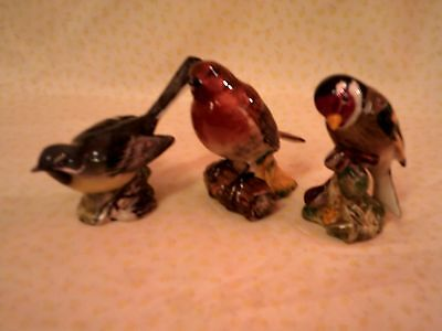 Three Vintage Beswick Birds, Robin 980, Goldfinch 2273 & Grey Wagtail 1041