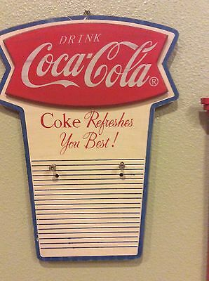 Wood Coca Cola Sign Holds Calendar Pad