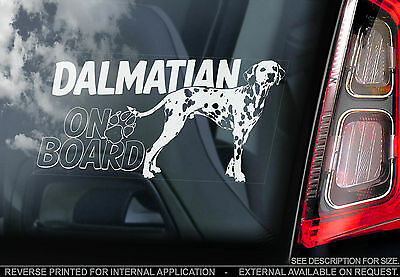 Dalmatian - Car Window Sticker - Carriage Spotted Dog on Board Art Sign - TYP2