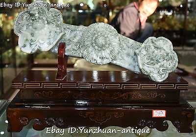 """16"""" Unique Chinese Natural Green Jade Hand Carving Wealth Ru Yi Ruyi Statue"""