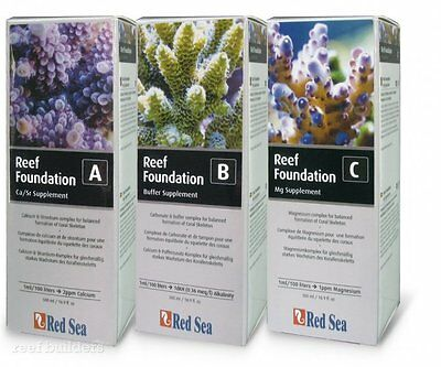 RED SEA REEF FOUNDATION A B C Ca/Sr/Ba  BUFFER Mg SUPPLEMENT 500ML Set 3 CORAL