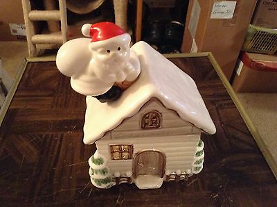 Otagirl 1979 Santa's country house ceramic cookie jar