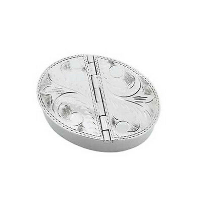 Hallmarked Silver Pill Box With 2 Lids.  925 Sterling Silver Engraved Pill Box