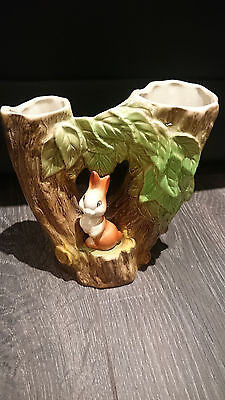 Eastgate Pottery Withernsea Fauna Bunny Rabbit Double Tree Vase Decoration