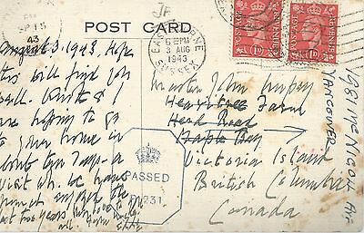 KING GEORGE VI 2x 1d REDS WITH PASSED BY CENSOR 1943 POSTCARD TO CANADA 337